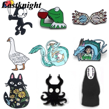 цена K1245 Cute Cat and Dragon Anime Pins Metal Enamel Pins and Brooches For Women Men Lapel Pin Backpack Bags Badge Collection Gifts онлайн в 2017 году