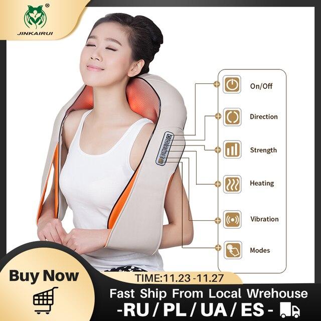 JinKaiRui U şekli masaj elektrik kızılötesi isıtma titreşimli Shiatsu yoğurma geri boyun omuz masaj vücut Massagem