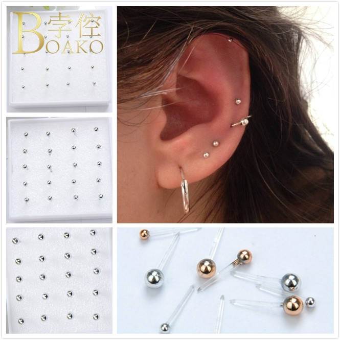 BOAKO Minimalism 10 Pairs/Set Small Bead Ball Stud Earrings For Women Piercing Earring Plastic Pierced Ear Bone Earrings Z5