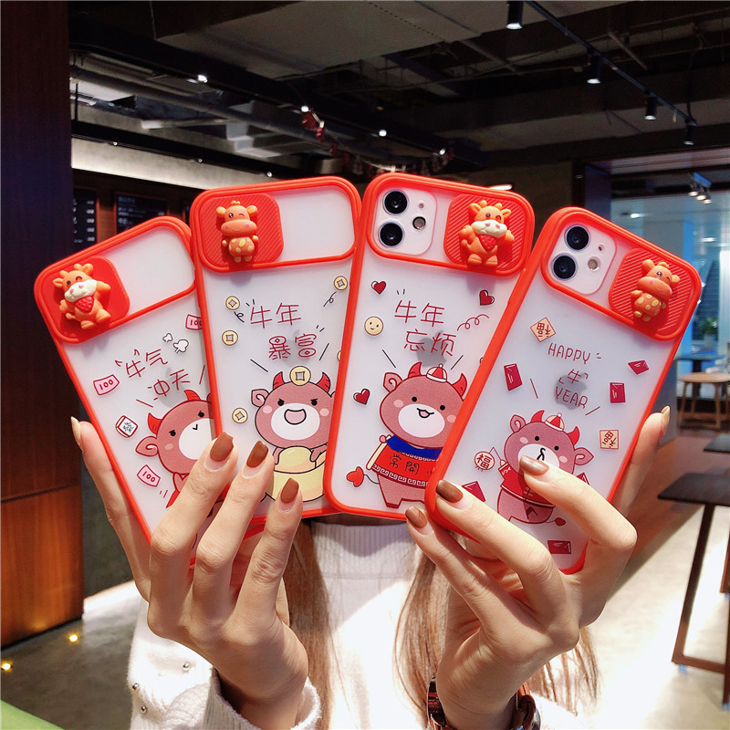 3D Cartoon Cow Camera Lens Protection Phone Case On For Iphone 11 12 Pro Max 8 7 Plus Xr Xs Max X SE 2020 12 Red Soft Back Cover