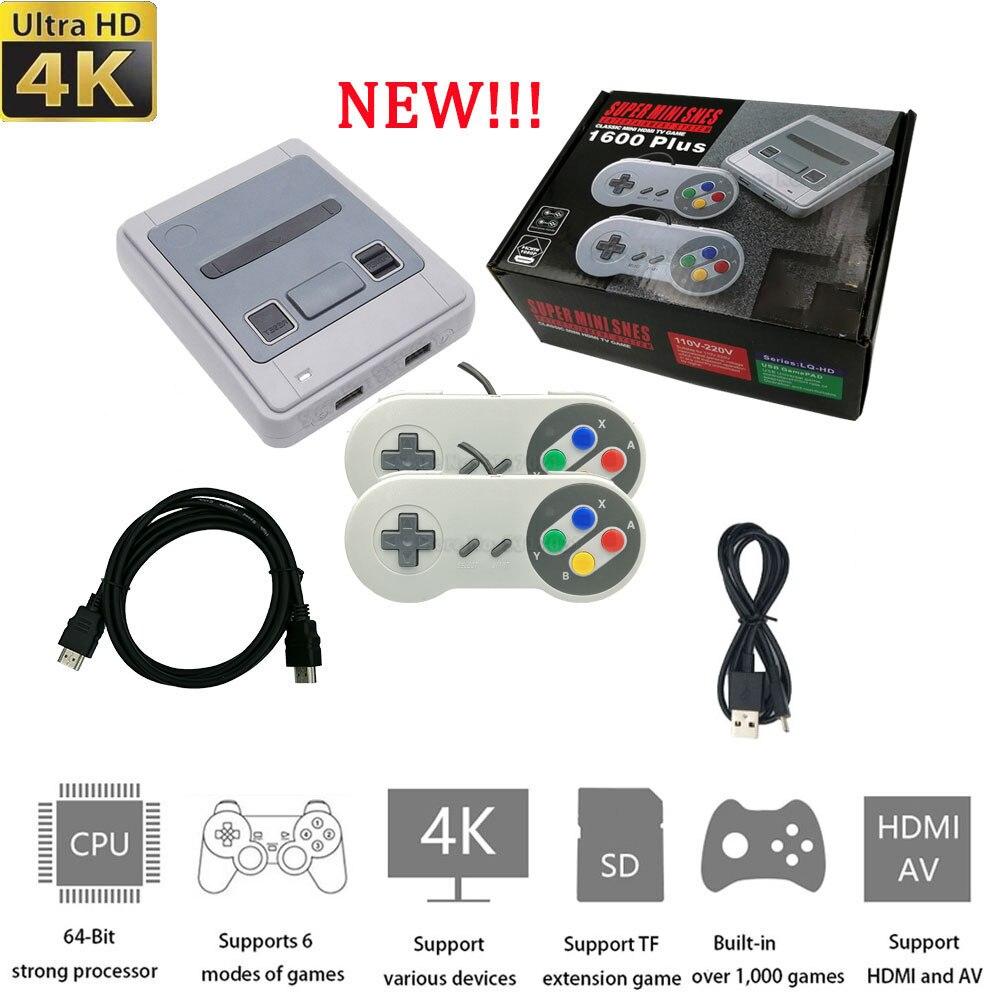 Игровая консоль для видеоигр Super Nintendo Sega 4K HDMI 1600 Ретро игры мини проводной геймпад контроллер универсальный эмулятор подарок