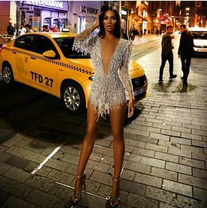 Image 5 - Sexy mini vestidos de cocktail profundo decote em v contas de renda borla ilusão manga longa vestido de noite festa wear feito sob encomenda