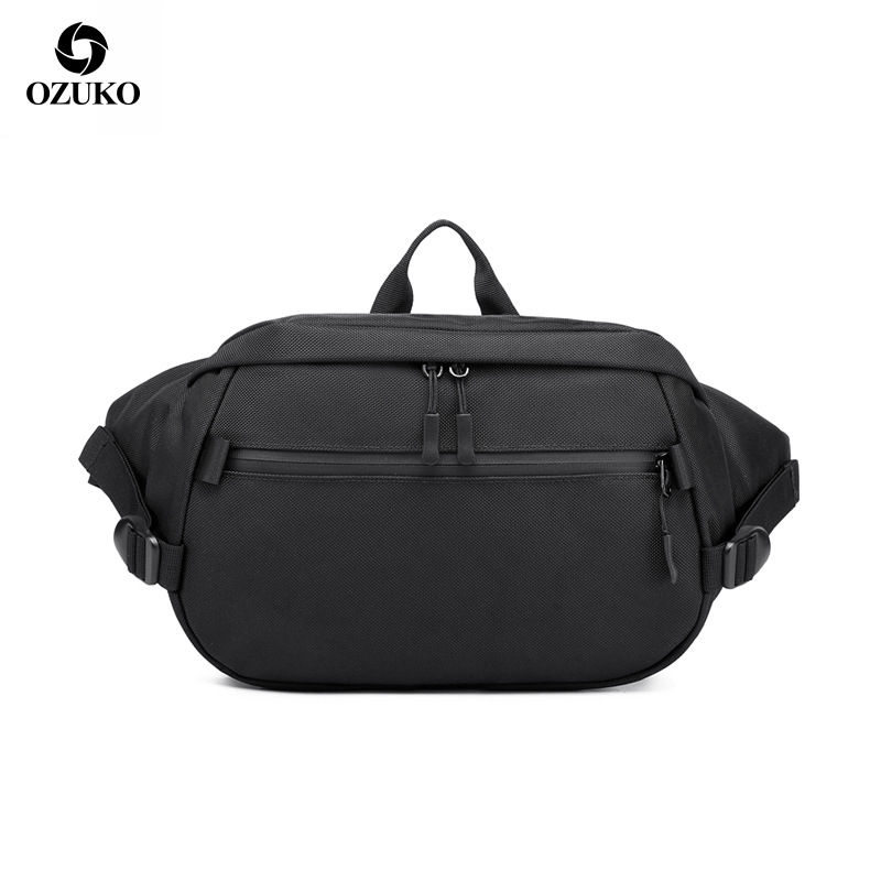 OZUKO 9206 Casual Waist Packs Male Waterproof Fanny Pack Men Shoulder Belt Bag Phone Pouch Bags For Short Travel Waist Chest Bag
