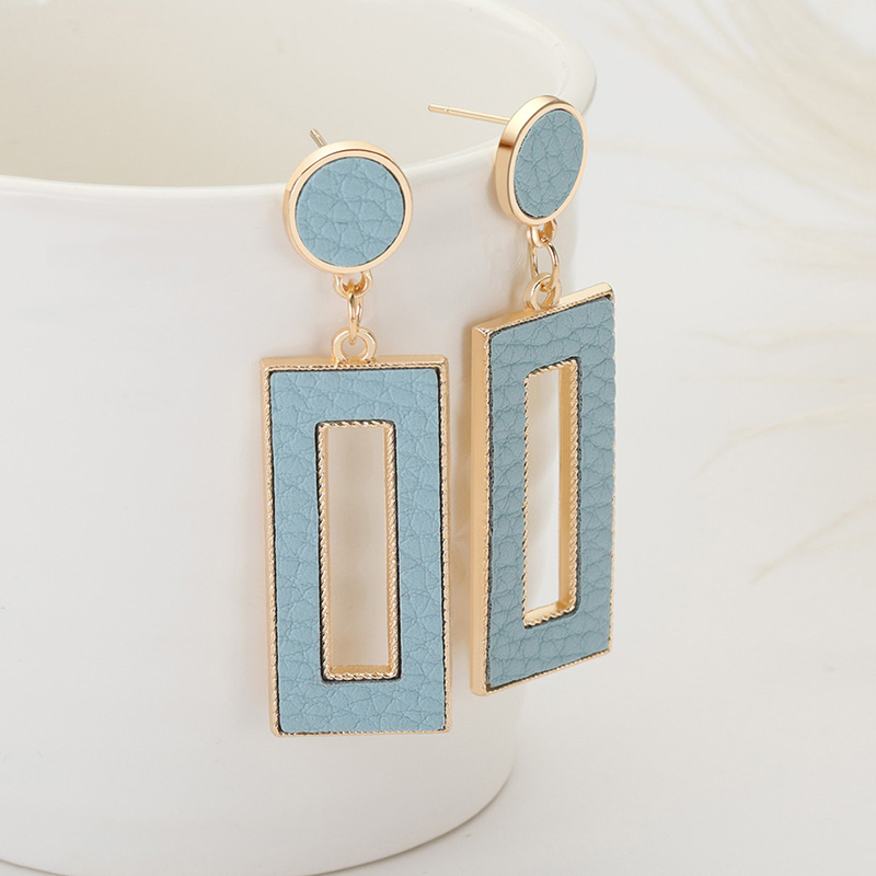 ZWC Korean New Love Temperament Leather Drop Earrings For Women Party Fashion Personality Simple Rectangular Earrings Jewelry