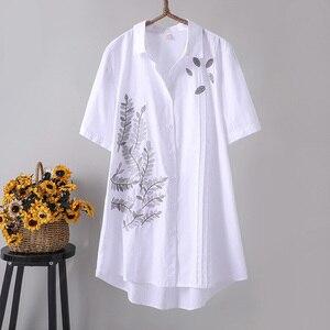 Женские винтажные рубашки большого размера 4XL, винтажные свободные длинные рубашки с цветочной вышивкой, верхняя одежда