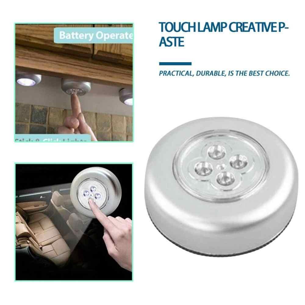 캐비닛 옷장 아래 4 LED 터치 컨트롤 밤 빛 라운드 램프 램프에 푸시 스틱 홈 부엌 침실 자동차 사용