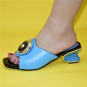Image 3 - Mode Frauen Mitte Absätzen mit Flach Mund Quadratischen Kopf Schuhe Damen Hausschuhe Sexy Frau Schuh Sandalen 2021 Sexy Plattform pumpen