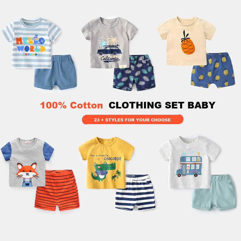العلامة التجارية القطن مجموعات ملابس للأطفال الترفيه الرياضة الصبي تي شيرت السراويل مجموعات ملابس طفل صغير بيبي بوي الملابس