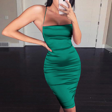 Yesexy 2019 Solid Color Halter Bodycon Women Mini Dresses Backless Bandage Sexy Club Female VR19640