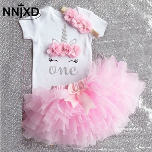 Summer One Year Baby Girl Dress Unicorn Party Girls Tutu Dress Toddler Kids Clothes Baby 1st Birthday Outfits infantil vestido(China)