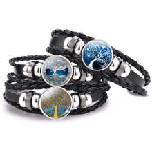 Tree of Life Bracelet Black Leather Multilevel Braided Woven Bracelets Glass Cabochon Jewelry Punk Fashion Unisex Gift