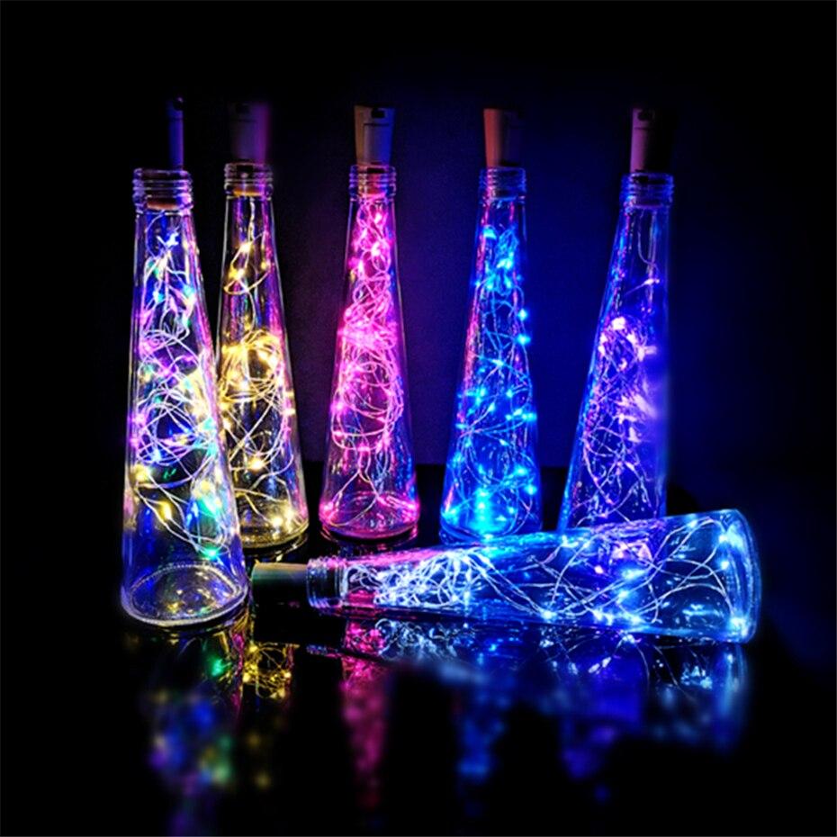 Cork Led Decor Wine Bottle Light  Battery  Garland Fairy Lamp Copper Wire Christmas Lights String For Home Cork Bottle Light