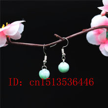wholesale natural Emerald apple Earrings DIY Handmade Charm Jewellery Fashion Man Women Luck Gifts Amulet(China)