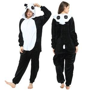 Animal Cartoon Unicorn Kigurumi Panda Pajamas for Adult Woman Flannel Warm Kigurumi Pijamas Men Sleepwear Homewear