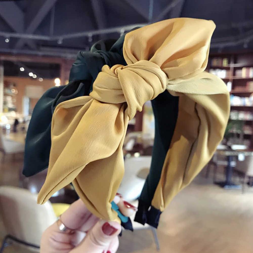 Модная женская широкая повязка с козырьком и большим бантом, повязка на волосы с крестиком, Корейская повязка на голову, обруч для девочек, аксессуары для волос в виде тюрбана