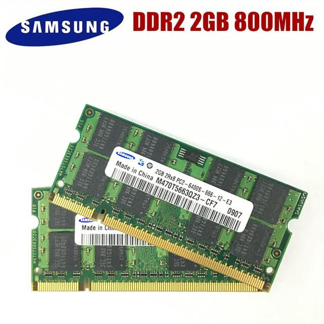 Samsung memoria para ordenador portátil, 4GB, 2GB, 800MHz, PC2 6400, DDR2, 4G, 800, 6400S, 2G, SO DIMM de 200 pines
