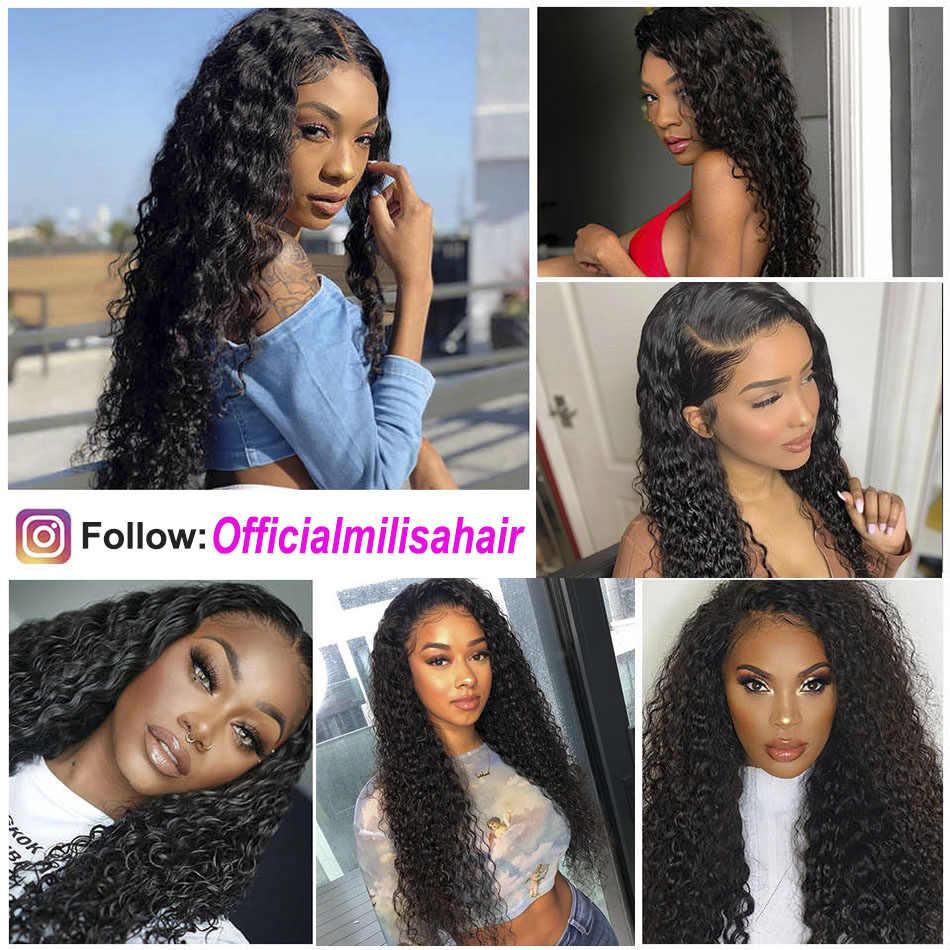 10- 30 inch Water Wave 3 Bundles With Closure Brazilian Human Hair Weave Bundles with 4x4 5x5 6x6 Lace Closure Remy Mi Lisa Hair