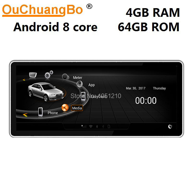 Ouchuangbo multimedia radio gps recorder for <font><b>A6</b></font> A6L 2005-2011 with <font><b>10.25</b></font> inch 8 core <font><b>Android</b></font> 9.0 and 4GB +64GB LHD RHD image
