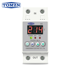 Din rail 40A 60A ON/OFF adjustable over under voltage proteciotn device automatic reconnect protector with voltage display