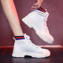 England Spring/Autumn 2019 New Women Boots Pu Leather Ankle Martin Boots Platform Shoes Woman High-top Fashion Lace-Up Non-slip