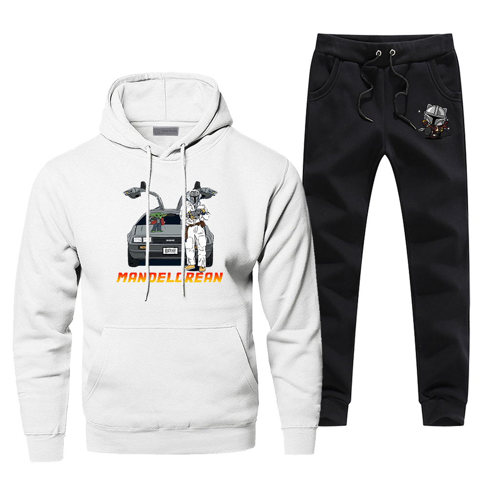 TV Show The Mandalorian Tracksuit Men's Sportswear Sets Baby Yoda Back To The Future 2 Piece Sweatshirt + Sweatpants Spring Set
