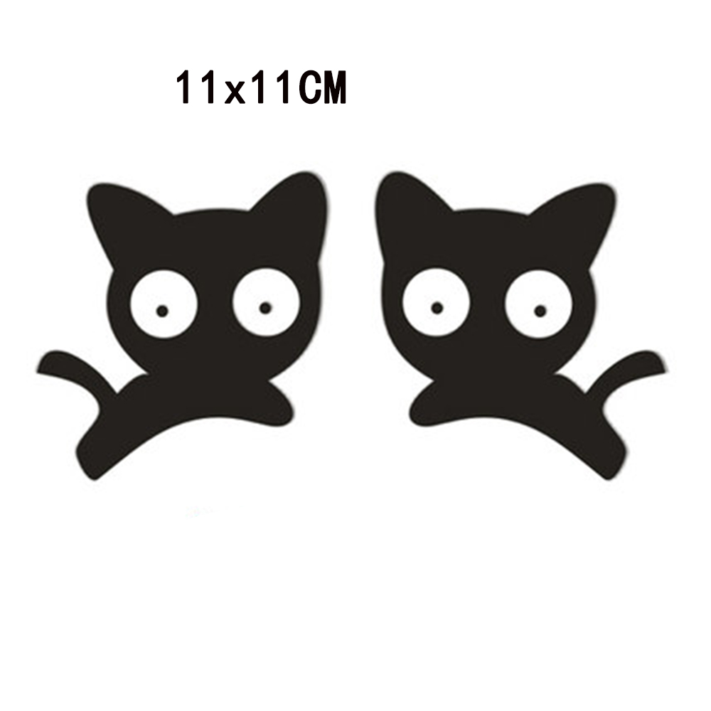 1 Pair Car Sticker 11x11cm Decorative Car Decals Citation Stickers Cat Shape Rearview Mirror