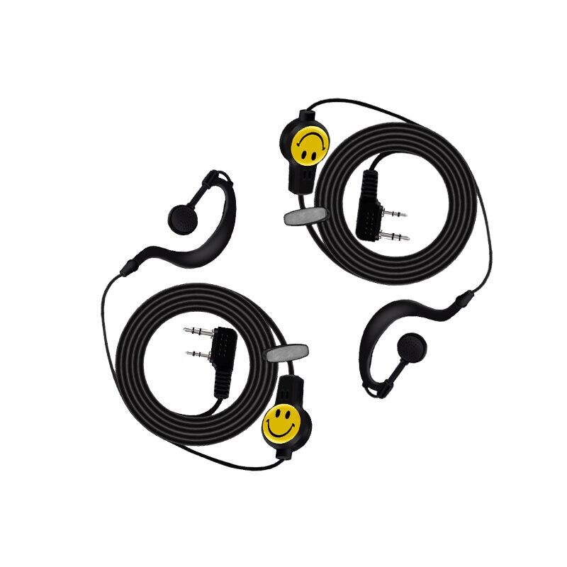 2pcs Walkie Talkie Smile Face Headset For Baofeng UV-5R UV-82 BF-888s K Head Earpiece
