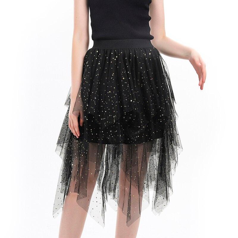 Women Summer Tutu Lace Mesh Jupe Star Sequins Girl Skirt High Waist Fluffy Skirt Irregular Spodnica