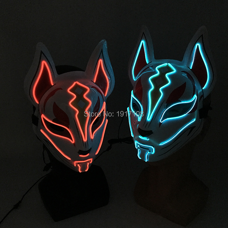 Fashion Halloween Party Mask Light up Neon LED Mask for Halloween Carnival Party Glowing Anime Mask for Cosplay Decoration