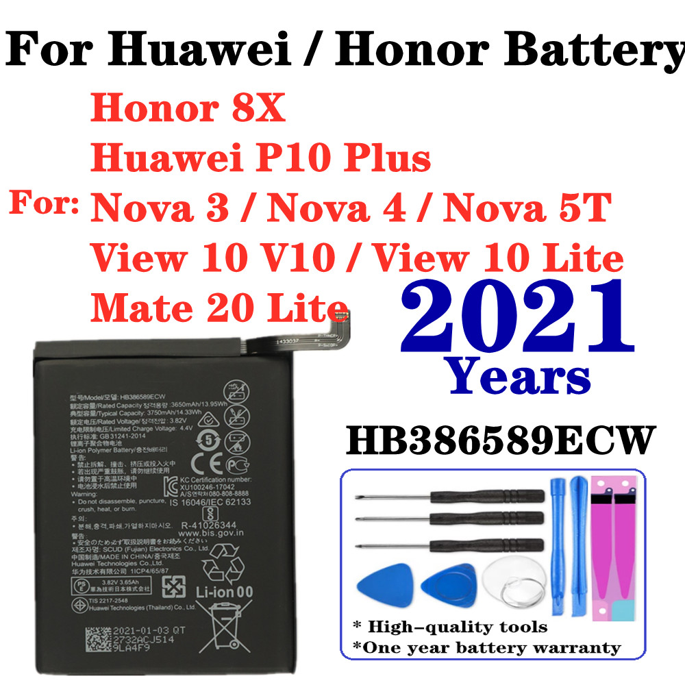 For Honor 8X Battery HB386589ECW 3750mAh for Huawei P10 Plus View 10 Lite Mate 20 Lite Nova 3 Nova 4 Nova 5T Replacement Battery