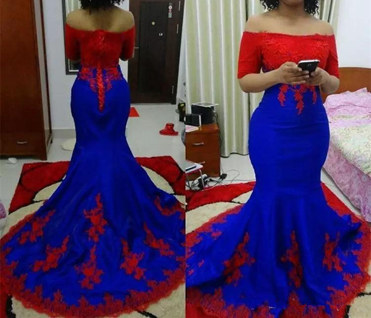 Red Lace Appliques Prom Gown Royal Blue Mermaid Robe De Soiree Evening Dresses 2019 Robe Longue Robe De Soiree Evening Dress