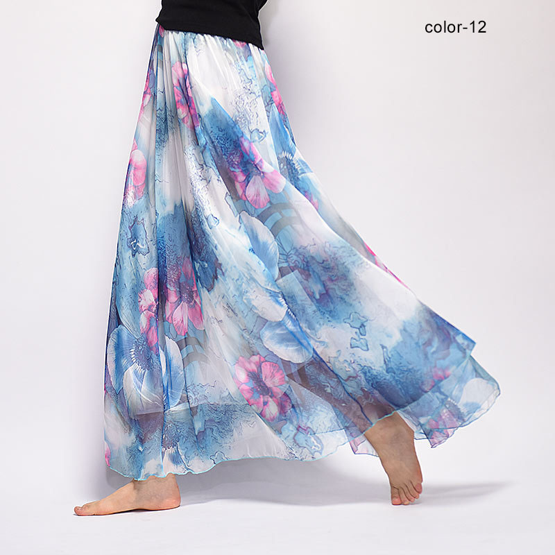 Women Fashion Florals Print Long Skirt Female Boho Style Elastic High Waist Chiffon Casual Beach Skirts Saias 19 Color Summer 5
