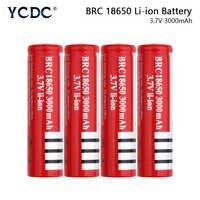 YCDC 18650 nuevo 3,7 v 3000 mah batería recargable BRC18650 punta para las baterías de la linterna 18650 Li-Ion células