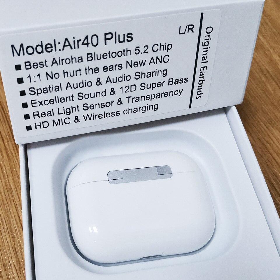 Air40 Plus TWS новые беспроводные наушники ANC лучшие микросхемы Airoha Bluetooth 5,2 наушники 12D Super Bass Space audio PK i10 i99999 tws
