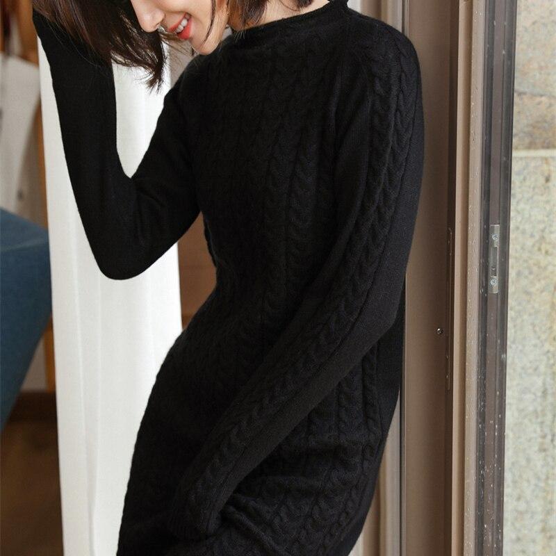 Adohon 2019 femme hiver 100% cachemire chandails et auntmun robes tricotées pulls de haute qualité chaud genou-longueur o-cou