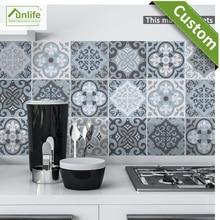 Funlife CUSTOM10/15/20/25/30cm Blue&Grey  Mediterranean Geometry Tile Wallpaper DIY Ground Sticker pack of 10