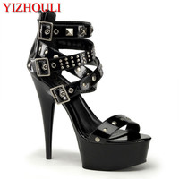 High heeled shoes with 15cm heels, sexy, 6 inch riveted embellished sandals, and stiletto sandals