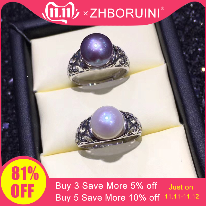 ZHBORUINI Pearl Ring Natural Freshwater Pearl Retro 925 Sterling Silver Good Quality Ring Jewelry For Women Drop Shipping G