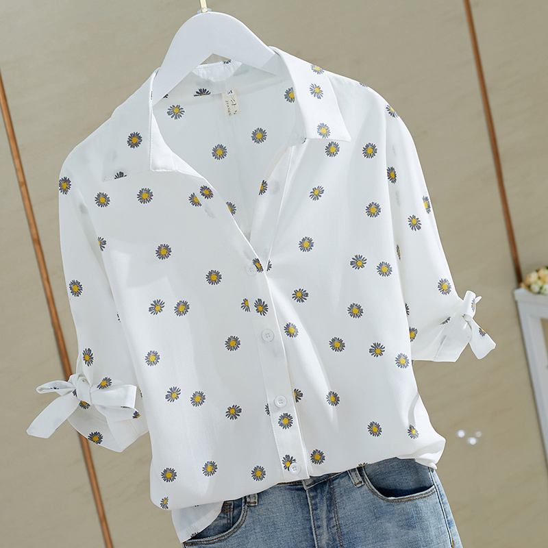 Women Large Plus Size Summer Daisy Tops Clothes Vintage Shirt Elegant Floral Print Cute Blouse Lady Casual Black Fashion 2020