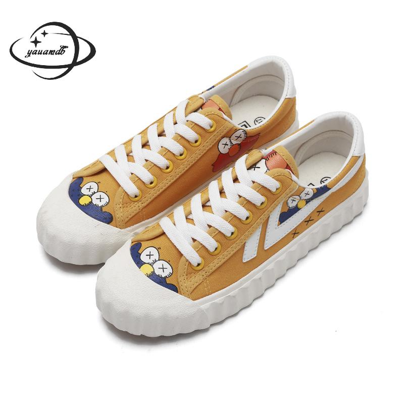 womens vulcanize Shoes female Spring autumn canvas shoes Lace-up Flat Cartoon Animation Shallow wear-resisting ladies shoes h25
