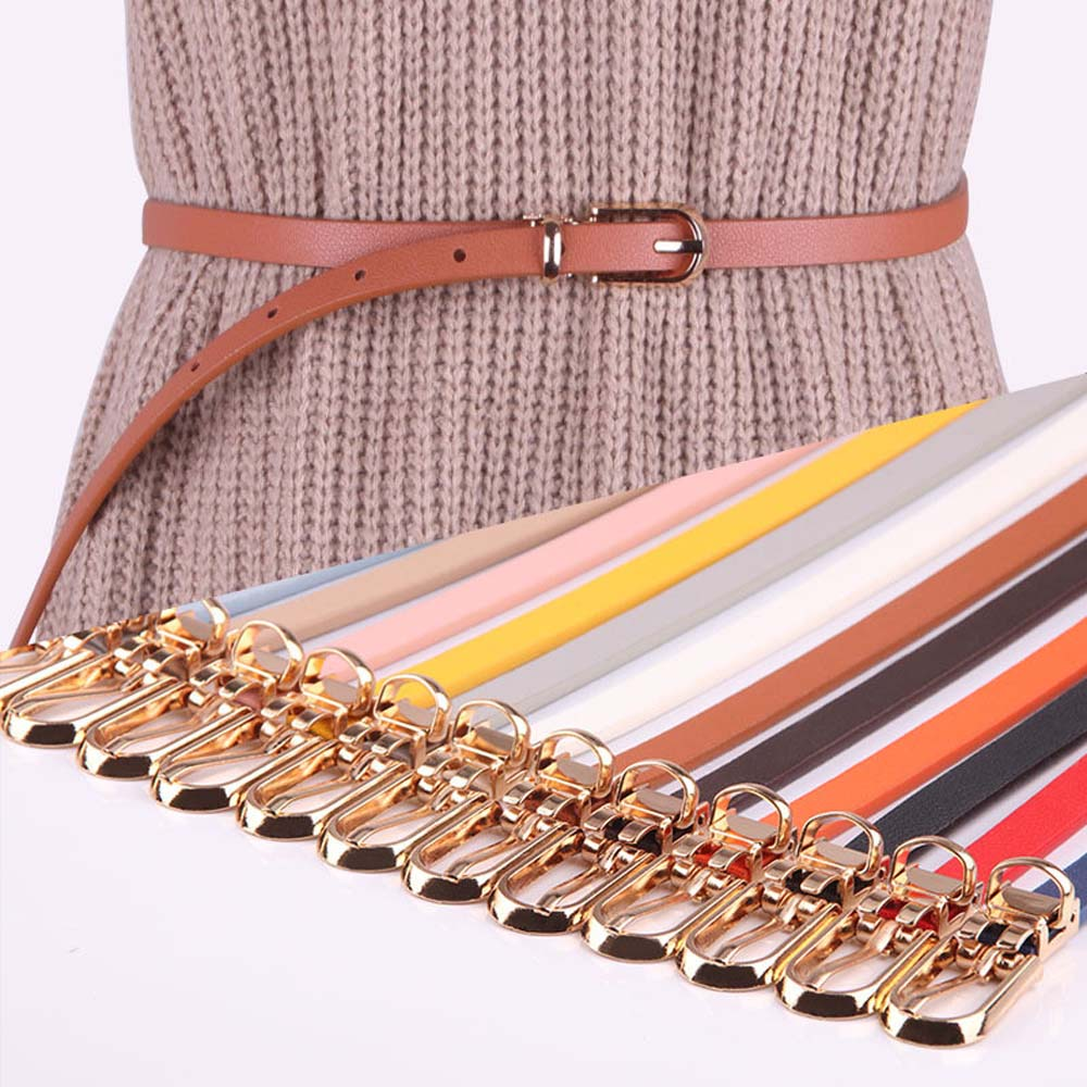 12Colors Women Faux Leather Belts Candy Color Thin Skinny Waistband Adjustable Belt Women Dress Strap Cinturon Mujer Cinto Femi