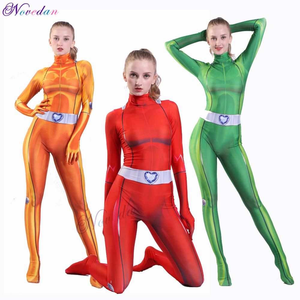 New Totally Spies Cosplay Costume For Women Girls Spandex Zentai Clover Ewing Samantha Simpson Alexandra Bodysuit Suit Jumpsuits