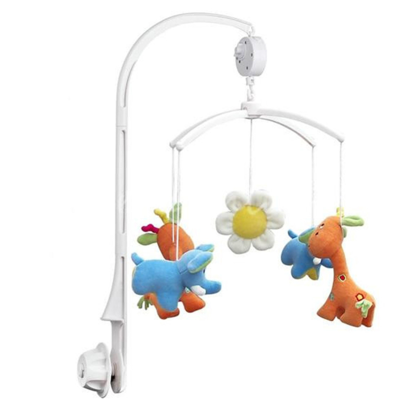 Baby Rattles Crib Mobiles Toy Holder Rotating Mobile Bed Bell 35 Song White Electronic Musical Box Children Vocal Toys