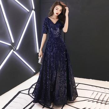 Navy Blue Women Banquet Dresses R264 V-Neck Half Sleeve Evening Gowns A-Line Sequin Robe De Soiree Floor Length Formal Vestido