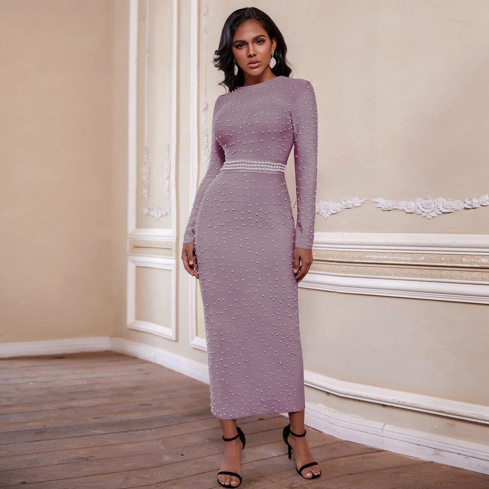 Ocstrade Vestidos Bandage Dress Long Sleeve 2020 Women Beaded Maxi Long Bandage Dress Bodycon Celebrity Evening Club Party Dress