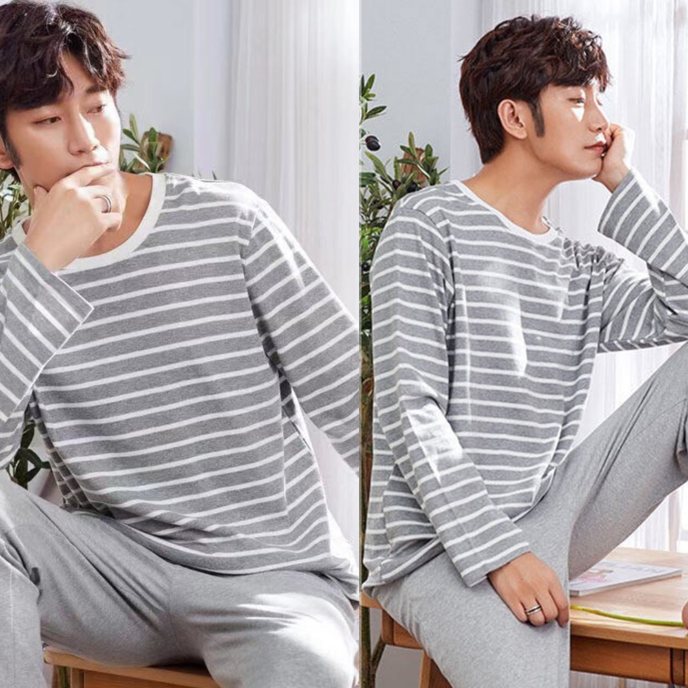 2020 Men Pajama Long-Sleeved Cotton Autumn Men'S Pajamas O-neck Thin Section Home Service Suit
