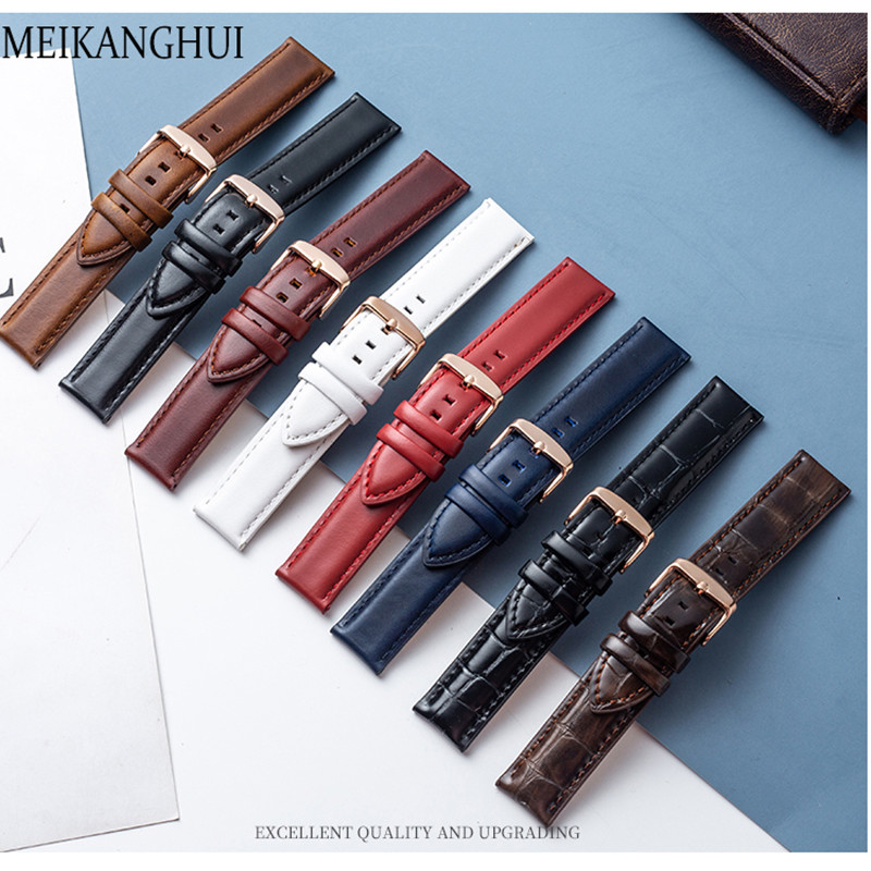 Strap For Watch Band Genuine Leather Loop 12mm-22mm Watchband For Bracelet Accessories