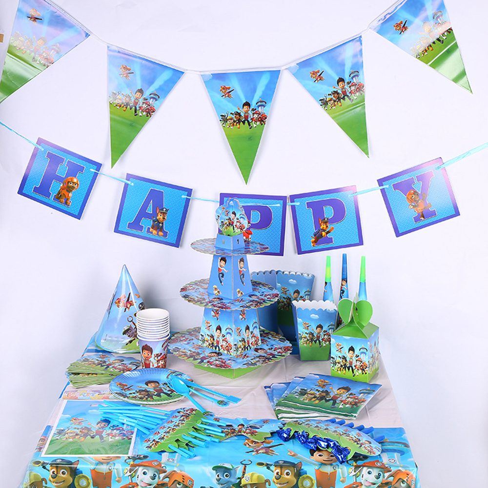 Paw Patrol Boys Birthday Party Decorations Kids Gift Bag Paper Cups Plates Knife Spoon Baby Shower Disposable Tableware Supplies