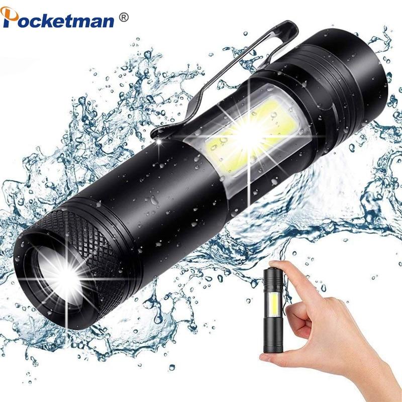 XML-Q5+COB LED Flashlight Portable Super Bright Waterproof In Life Lighting Lantern Adjustable Torch Use AA 14500 Battery