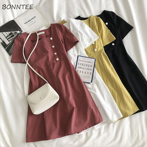 Sukienka damska Vintage kwadratowy kołnierzyk 4 kolory Retro francuski letni przyjaciel dziewczyny Sundress popularne codzienne Scholgirls Vestidos